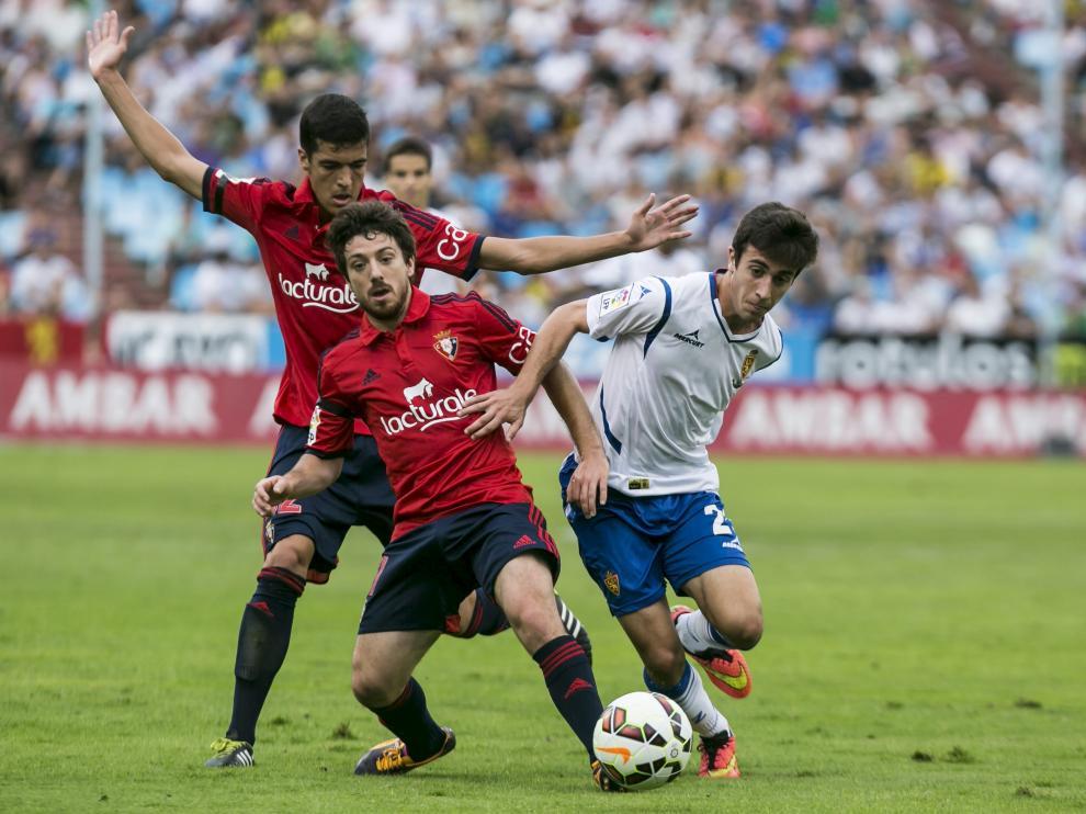 El delantero David Muñoz, durante el encuentro de la segunda jornada de liga en la Segunda División 2014-15 ante Osasuna.