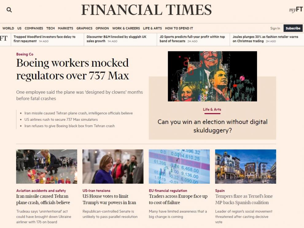 Teruel Existe en la portada del 'Finantial Times'