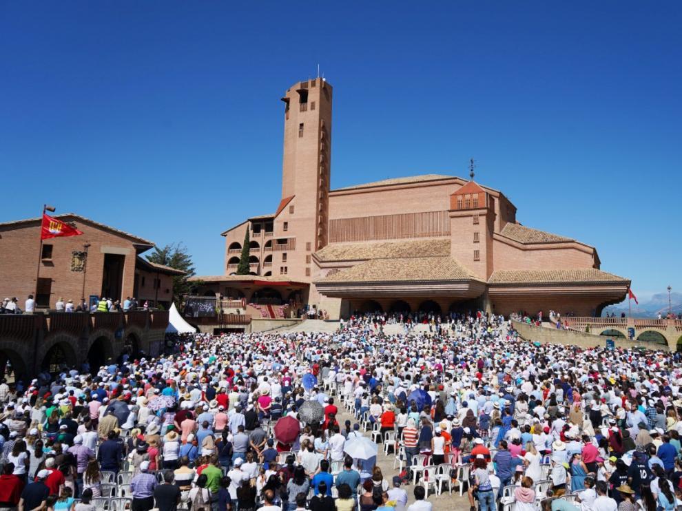 Torreciudad durante la jornada mariana de la familia, el día de mayor asistencia, con 8.000 personas.
