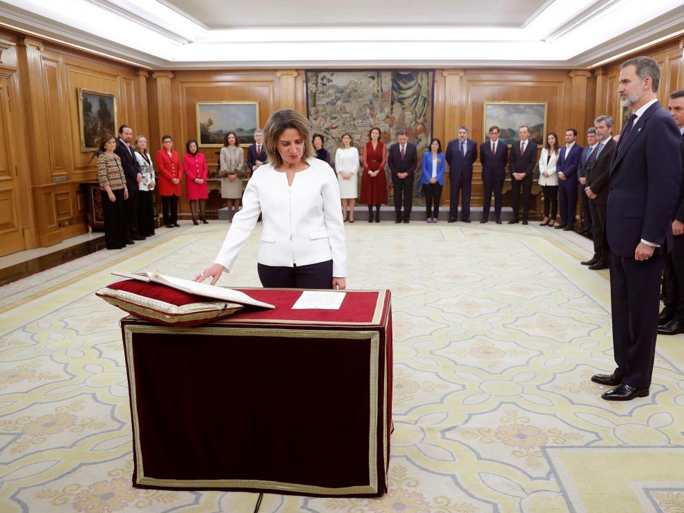 La nueva Vicepresidenta de Transición Ecológica y Reto Demográfico, Teresa Ribera, jura su cargo en un acto celebrado en el Palacio de Zarzuela