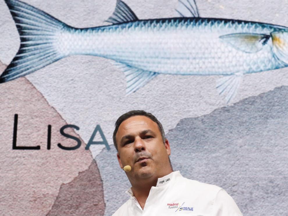 Ángel León, durante su ponencia 'Cocinando especies invasoras'