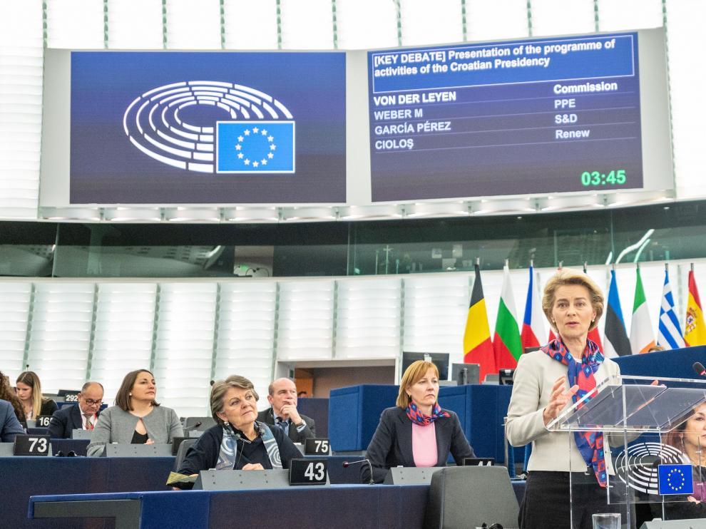 La presidenta de la Comisión, Ursula von der Leyen, durante la presentación del plan