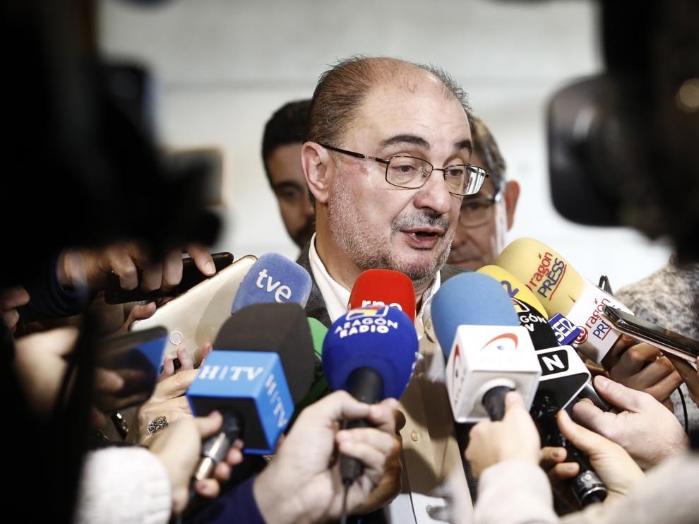 Javier Lambán en las Cortes