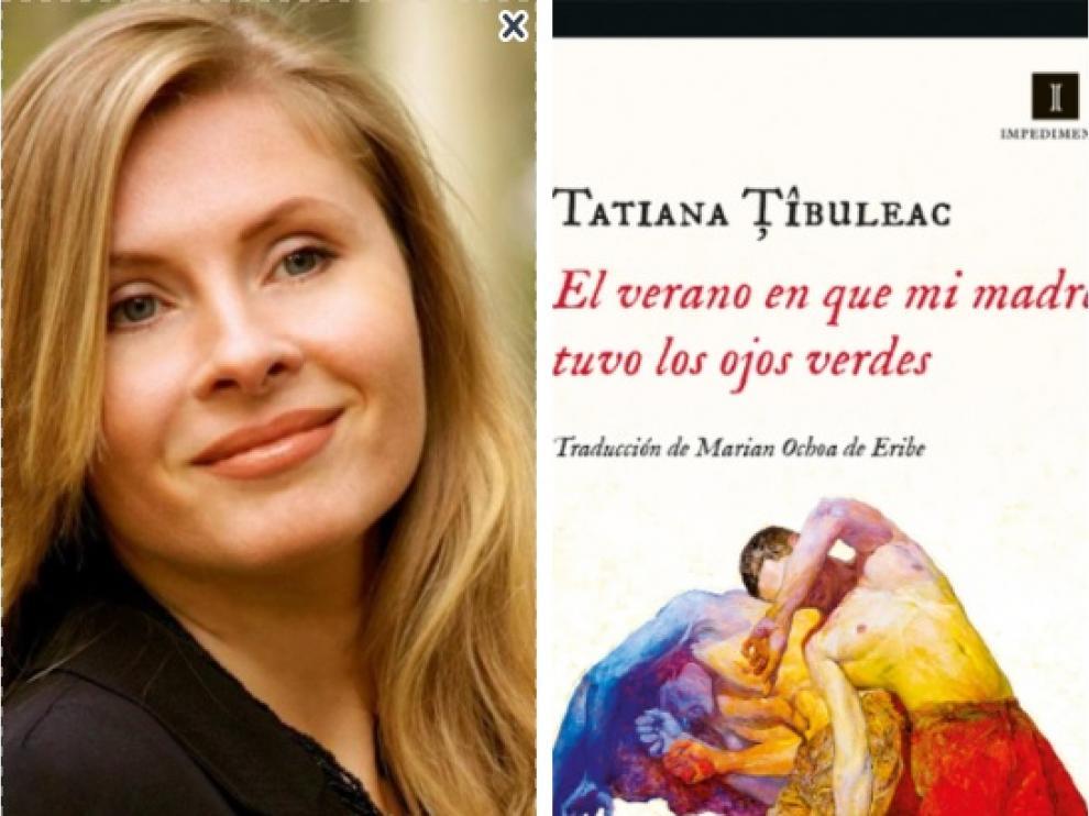 Tatiana Tibuleac y la portada de su novela premiada, publicada por Impedimenta