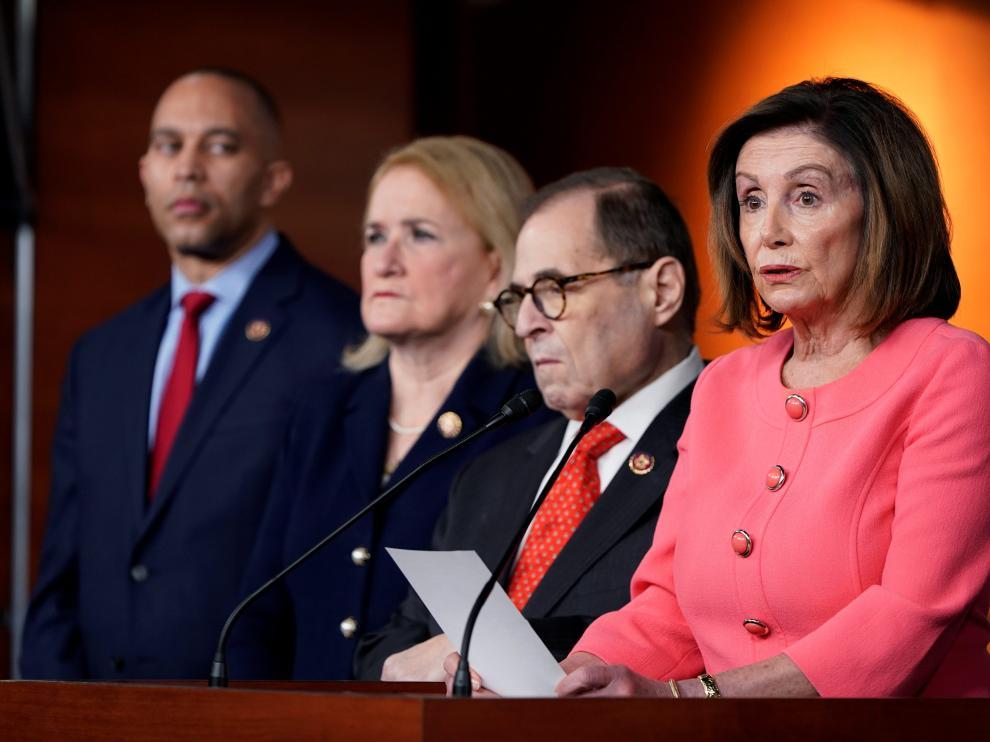 Nancy Pelosi, este miércoles, durante la rueda de prensa que ha ofrecido en el Capitolio