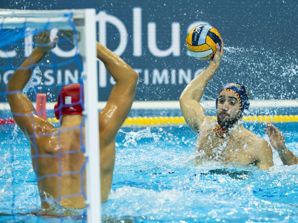 Un lance del partido entre España y Malta