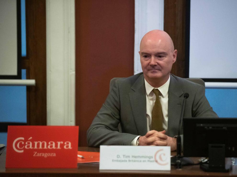 El ministro consejero de la embajada británica, Tim Hemmings, ayer en una jornada sobre comercio exterior en la Cámara de Comercio.