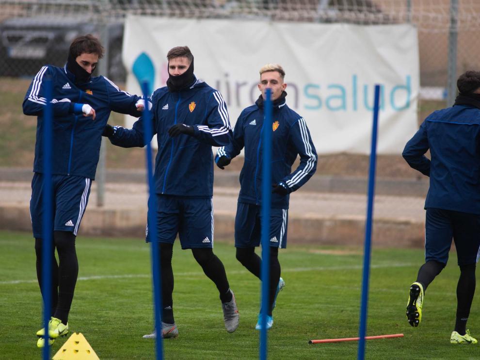 Eguaras, Vigaray y Blanco durante un entrenamiento en la Ciudad Deportiva.