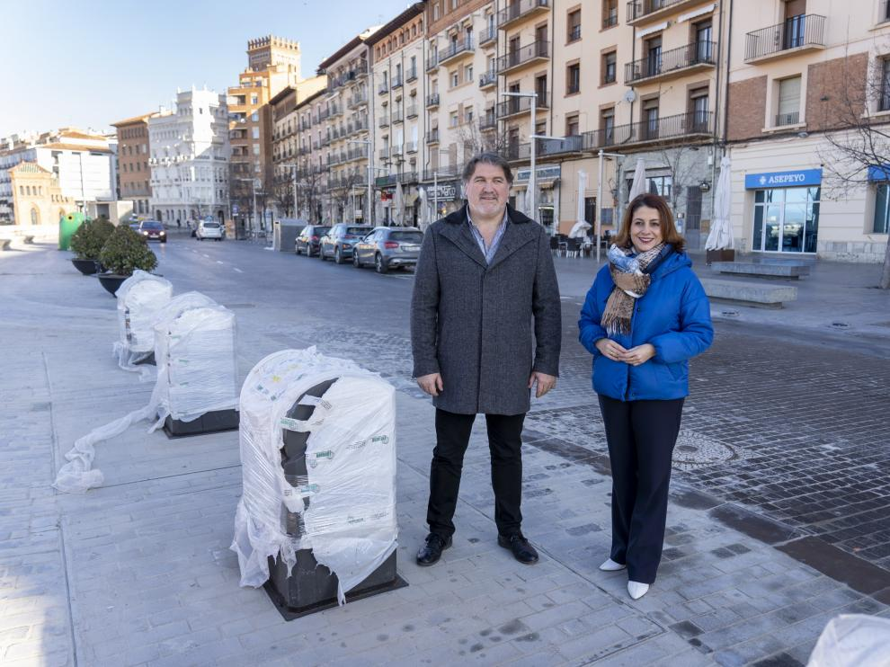 Nuevos contenedores soterrados en el paseo del ovalo de Teruel. Foto Antonio Garcia/Bykofoto. 16/01/20 [[[FOTOGRAFOS]]]