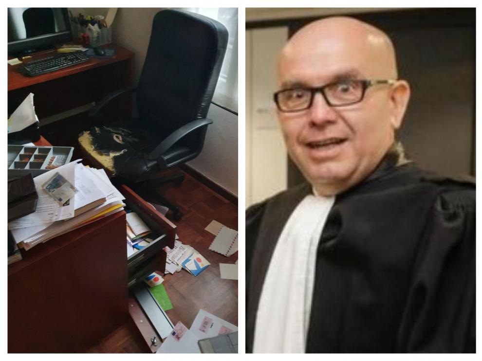 Combo de imágenes de Gonzalo Boye y su despacho tras el asalto