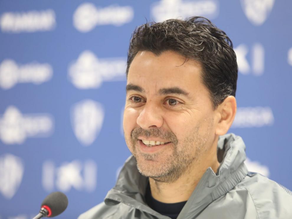 Imagen de Míchel durante la rueda de prensa previa al partido frente al Real Oviedo