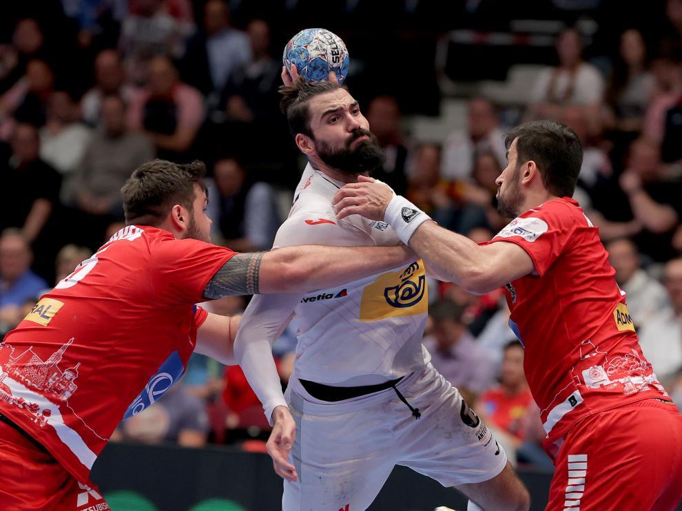 El español Jorque Maqueda, en un momento del partido disputado contra Austria
