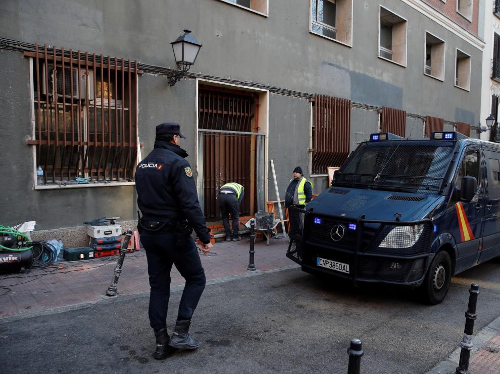 Imagen de archivo de la Policía Nacional, durante una actuación en Madrid.