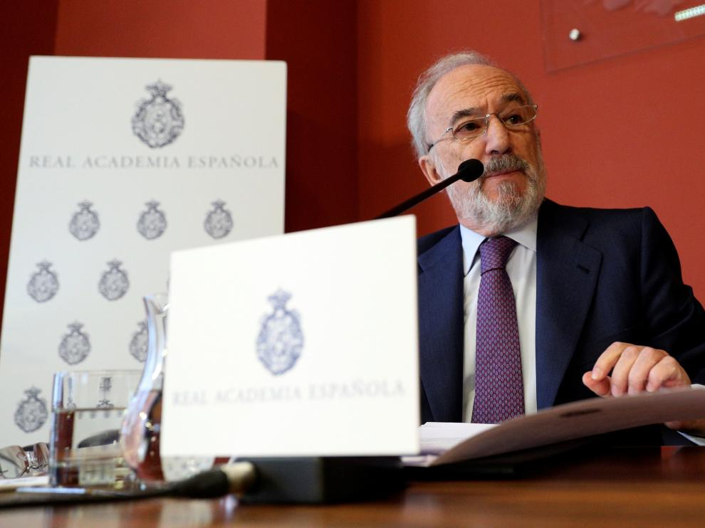 El director de la RAE, Santiago Muñoz Machado, este lunes en rueda de prensa en Madrid.