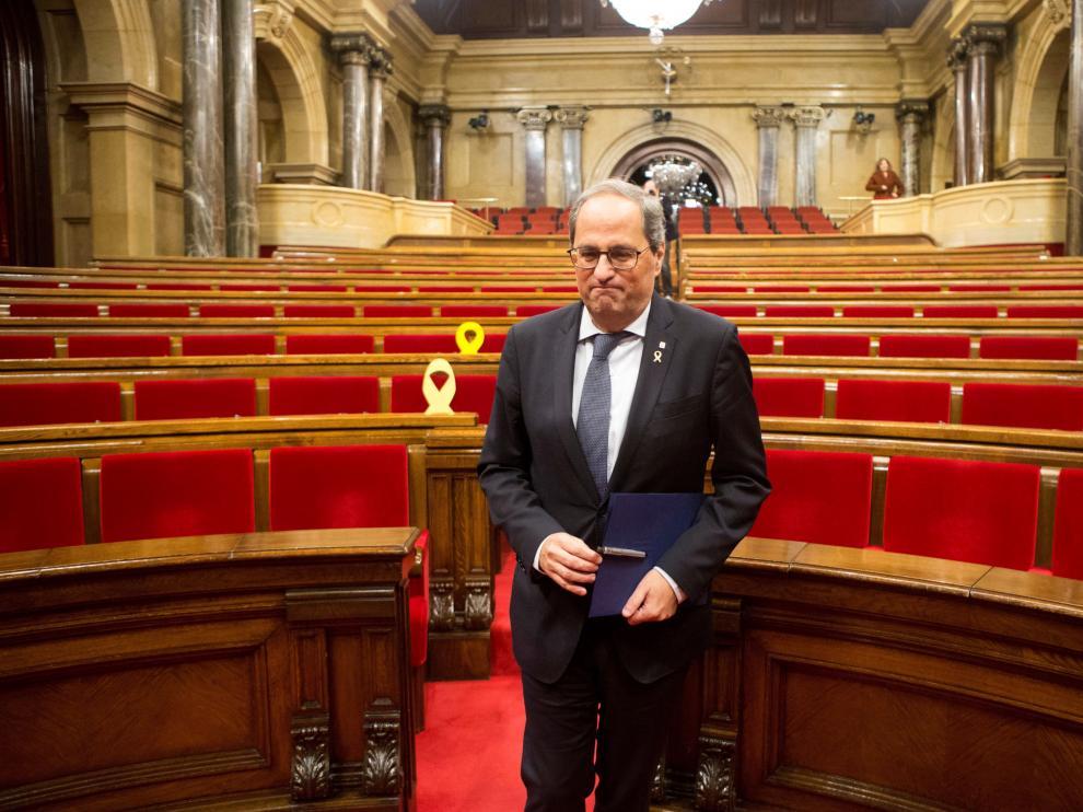 Joaquim Torra en el Parlamento catalán.