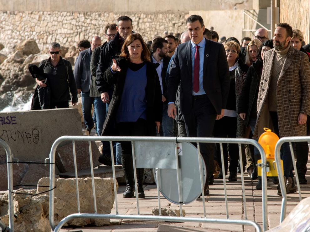 Pedro Sánchez comprobando los efectos de la borrasca en Baleares.