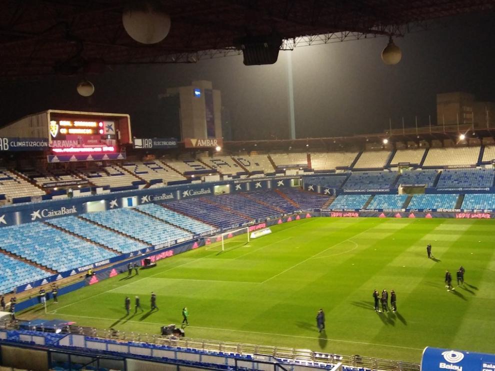 Aspecto de La Romareda, antes del partido del Real Zaragoza-Numancia