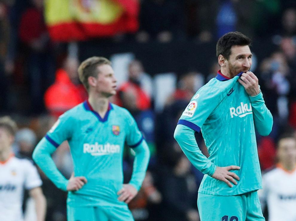 Messi, contrariado tras perder el Barça ante el Valencia