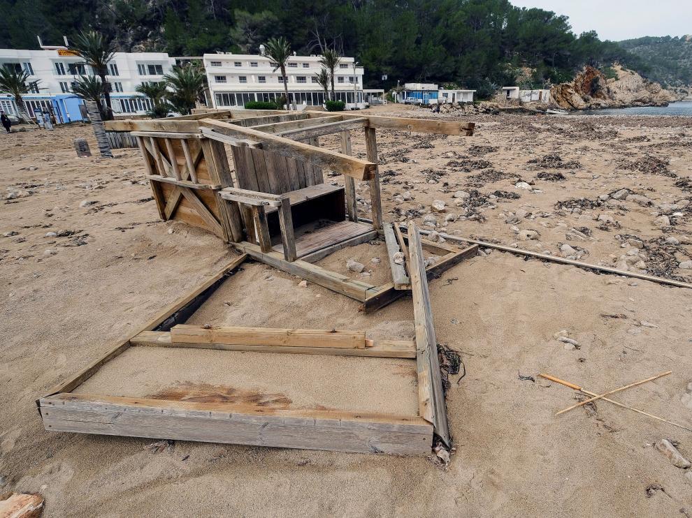 Una de las zonas más afectadas por el temporal en Ibiza.