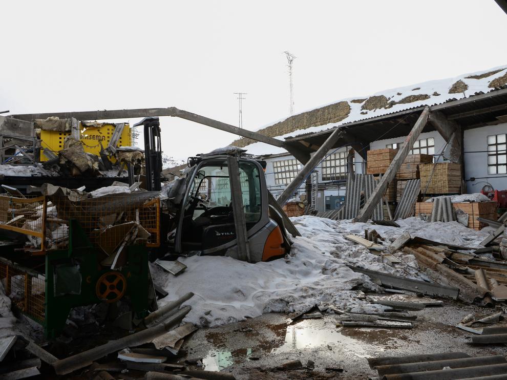El aserradero de Cantavieja, completamente destruido tras el paso de la borrasca Gloria