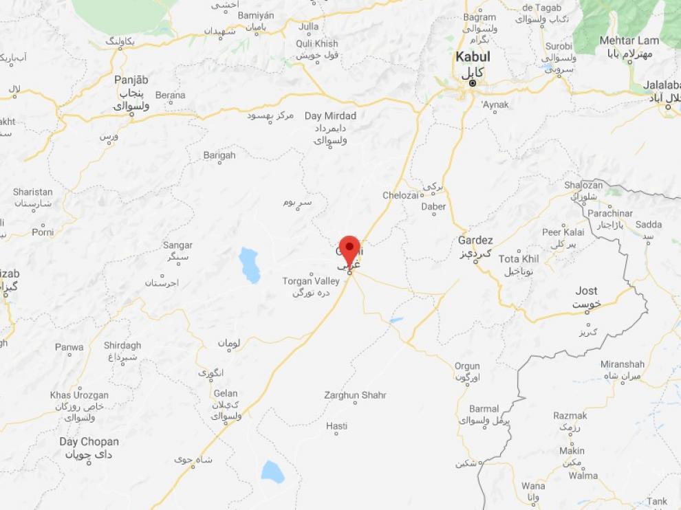 Mapa de Ghazni, provincia oriental de Afganistán.
