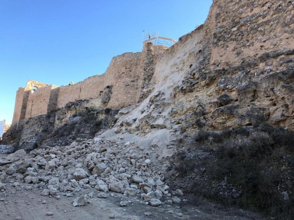 Desprendimiento en el Castillo Mayor de Calatayud