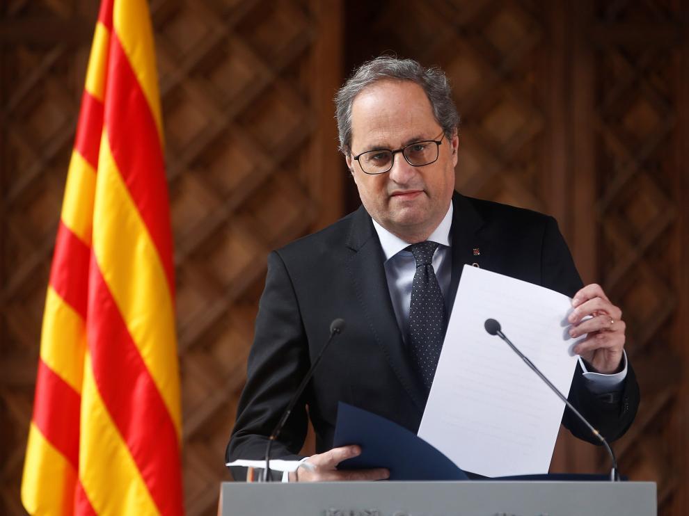 El presidente de la Generalitat, Quim Torra, durante la declaración institucional de este miércoles