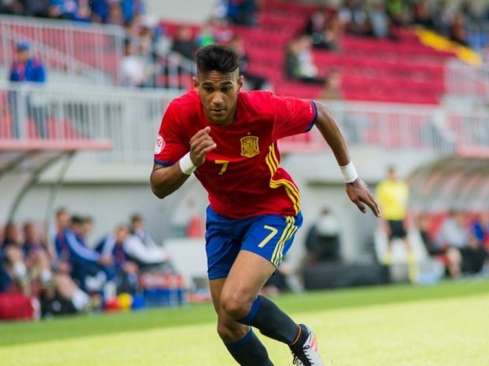 Imagen de Jordi Mboula durante su etapa como internacional con las categorías inferiores de España