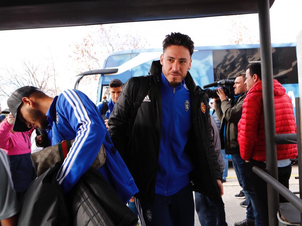 Llegada del Real Zaragoza al hotel de concentración, a las 14.00 de este miércoles.