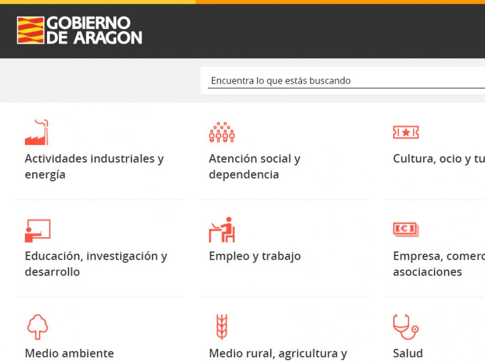 Web del Gobierno de Aragón