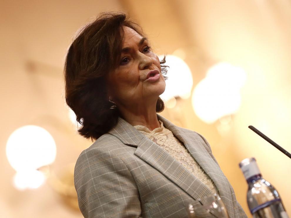 La vicepresidenta primera del Gobierno, Carmen Calvo, en una intervención durante esta semana.