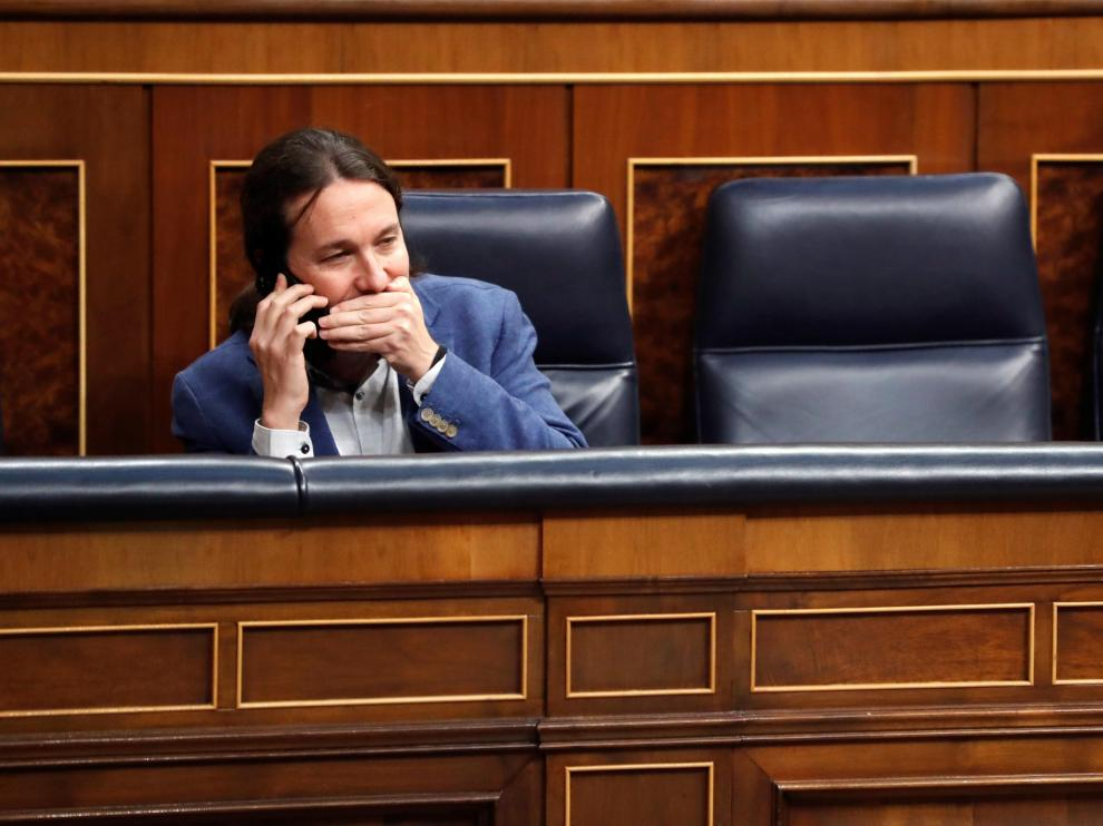 GRAF4398. MADRID, 04/02/2020.- El vicepresidente segundo del Gobierno, Pablo Iglesias, al inicio del pleno celebrado este martes en el Congreso. EFE/Zipi Pleno del Congreso