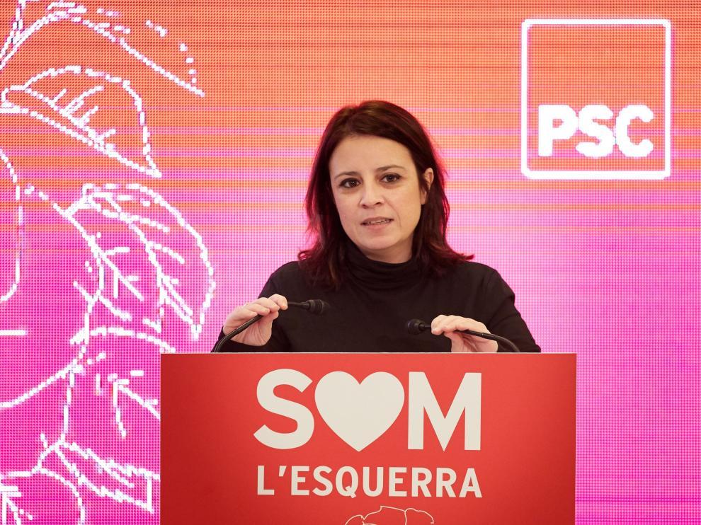 Adriana Lastra durante su intervención este sábado en la inauguración del congreso del PSC de las comarcas de Gerona.