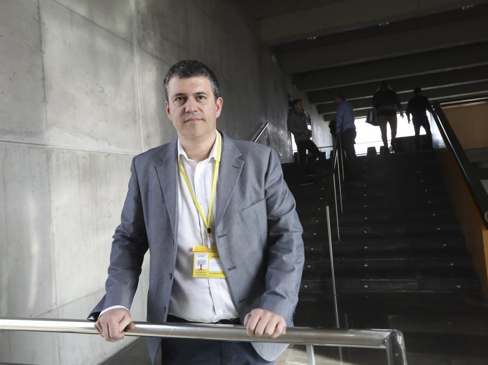El nuevo presidente de CHA, Joaquín Palación, tras su elección en el congreso del partido celebrado este fin de semana en Huesca,