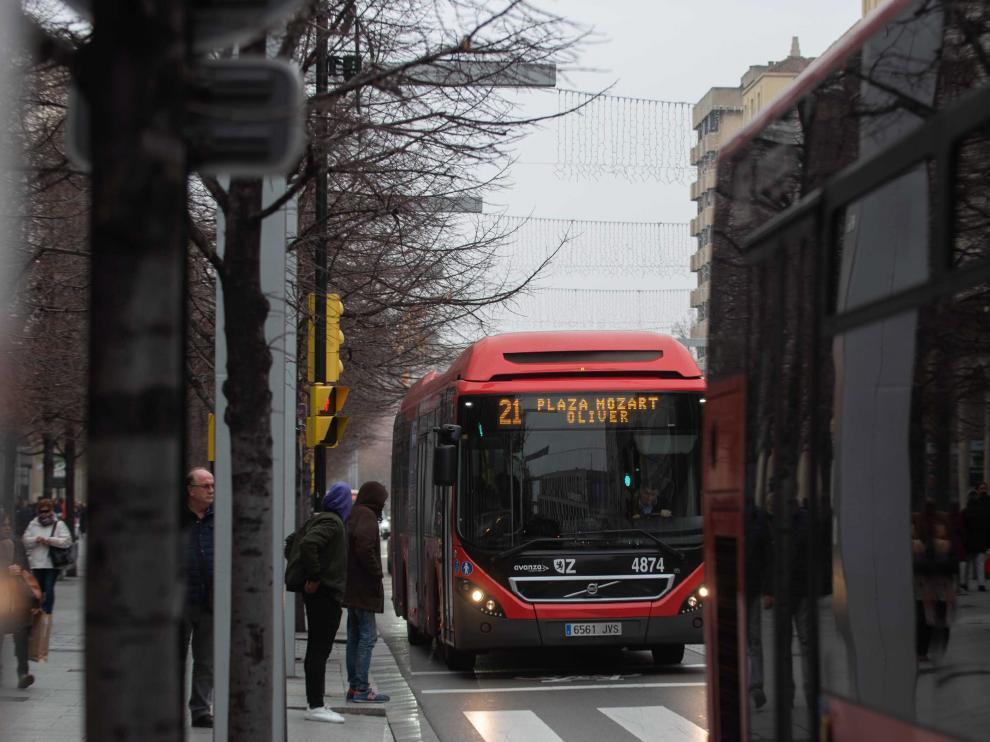 Dos autobuses, a su paso por el paseo de la Independencia.