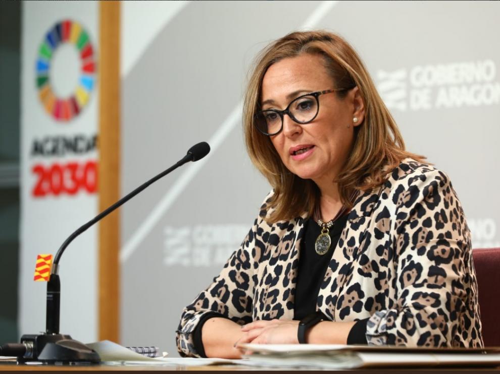 La consejera de Presidencia y portavoz de la DGA, Mayte Pérez, en su comparencia de este lunes tras el Consejo de Gobierno.