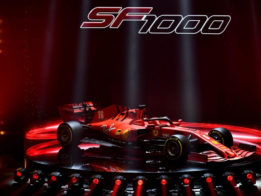 Ferrari unveil the new Formula One race car SF1000 during the presentation at the Romolo Valli Municipal Theatre in Reggio Emilia, Italy, February 11, 2020. Ferrari Press Office/Handout via REUTERS ATTENTION EDITORS - THIS IMAGE HAS BEEN SUPPLIED BY A THIRD PARTY. NO RESALES. NO ARCHIVES [[[REUTERS VOCENTO]]]