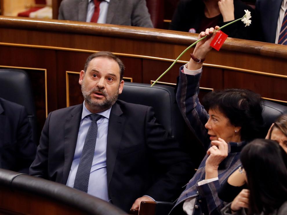 El ministro Ábalos durante la sesión de control del Congreso de los Diputados