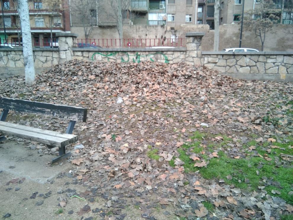 Montaña de hojas acumuladas en el Parque Bruil de Zaragoza.