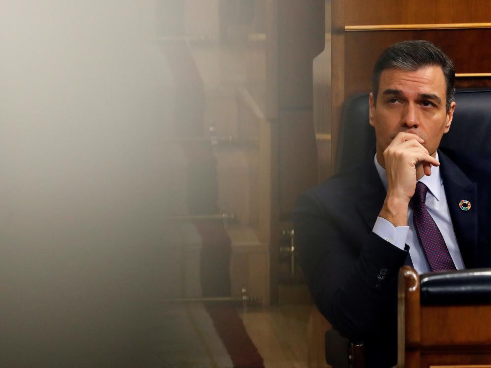 Pedro Sánchez este miércoles en la sesión de control del Congreso de los Diputados