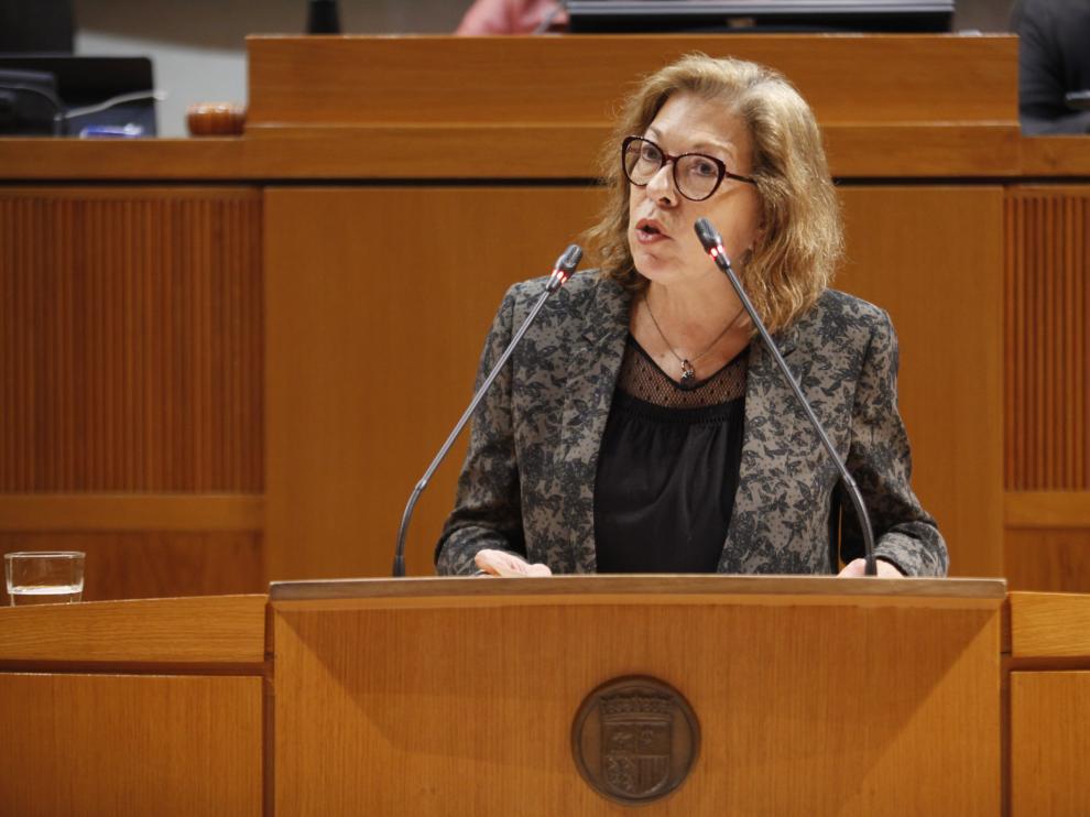 Pilar Ventura, hoy en el pleno de las Cortes.