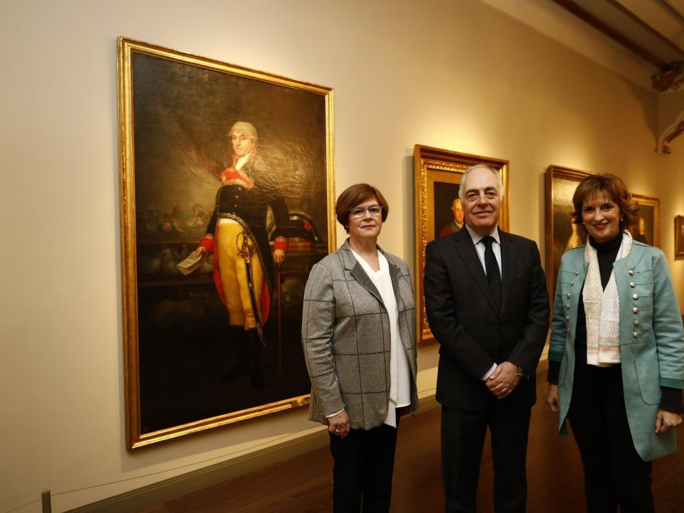 Rosario Añaños, José Luis Rodrigo y Maite Ciriza, en el Museo Goya.