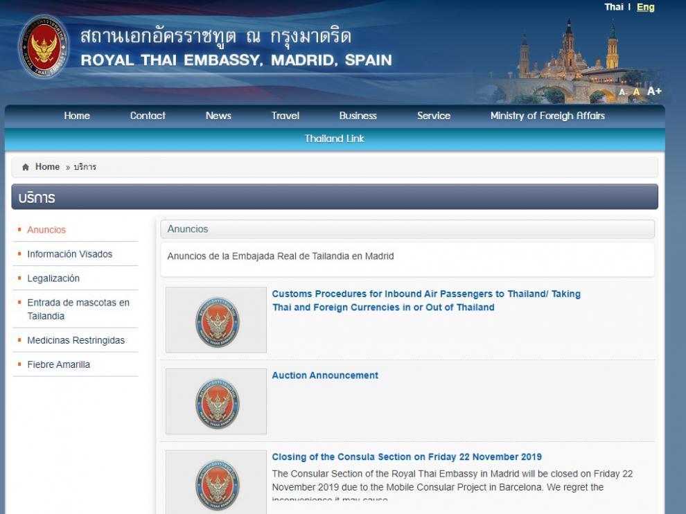 Portada de la web de la Embajada de Tailandia en España.