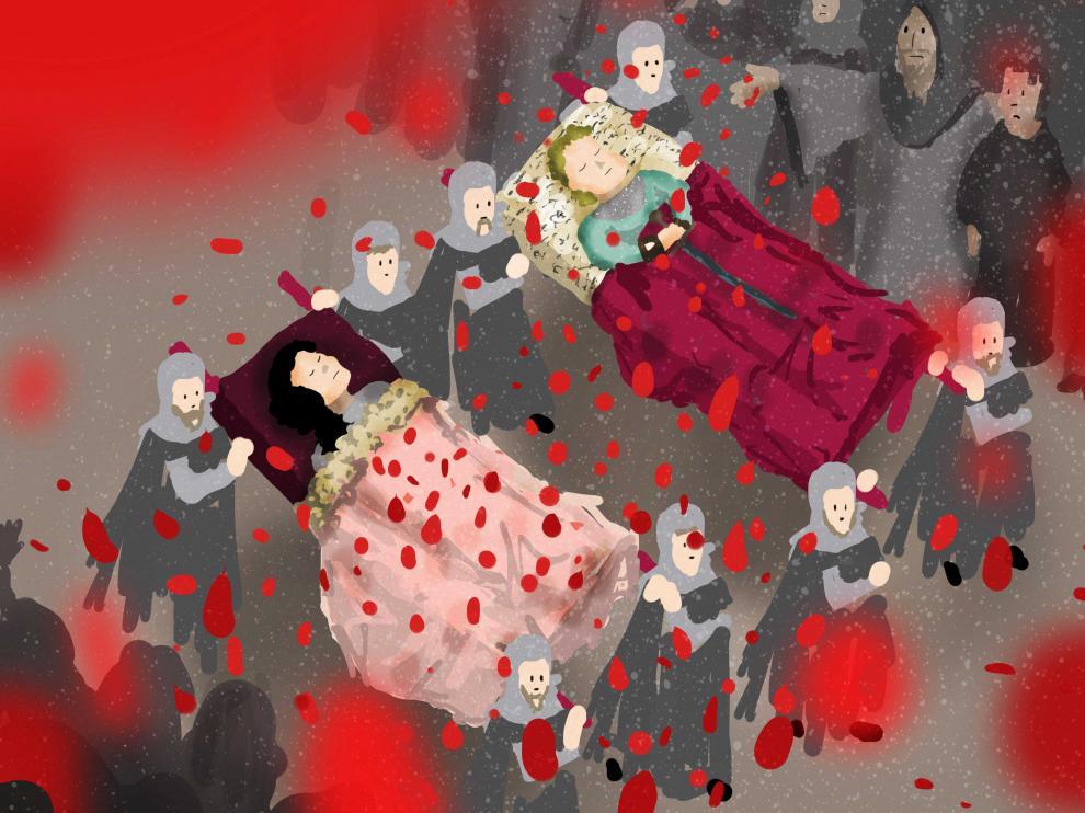 Dibujo del funeral de Isabel de Segura y Diego de Marcilla, los Amantes de Teruel