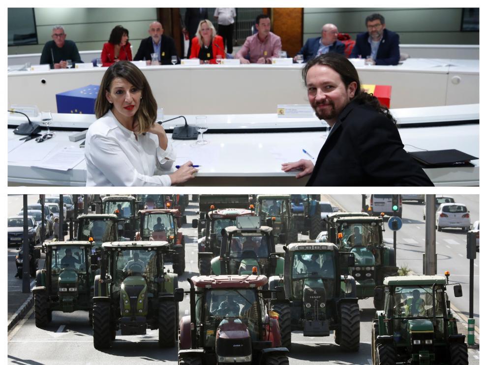 Reunión de Yolanda Díaz y Pablo Iglesias con representantes del sector agrario/ Protesta de agricultores en Valencia