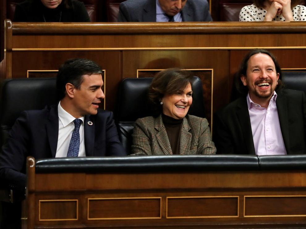 Sanchez, Calvo e Iglesias en un pleno, imagen de archivo.