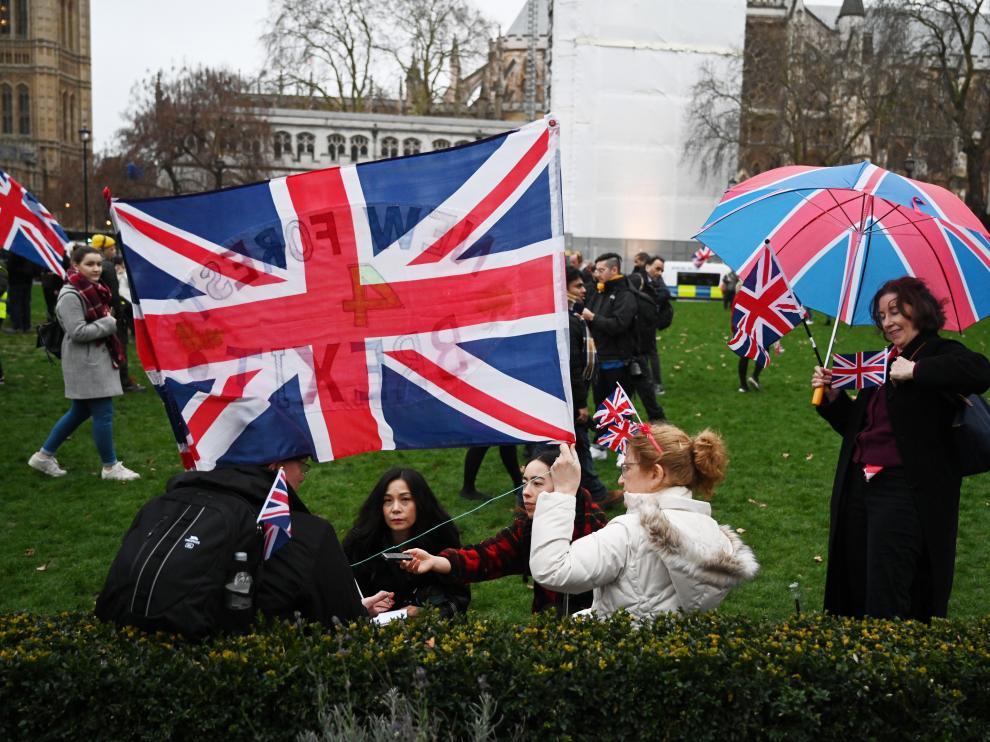 Defensores del 'brexit' en Londres.