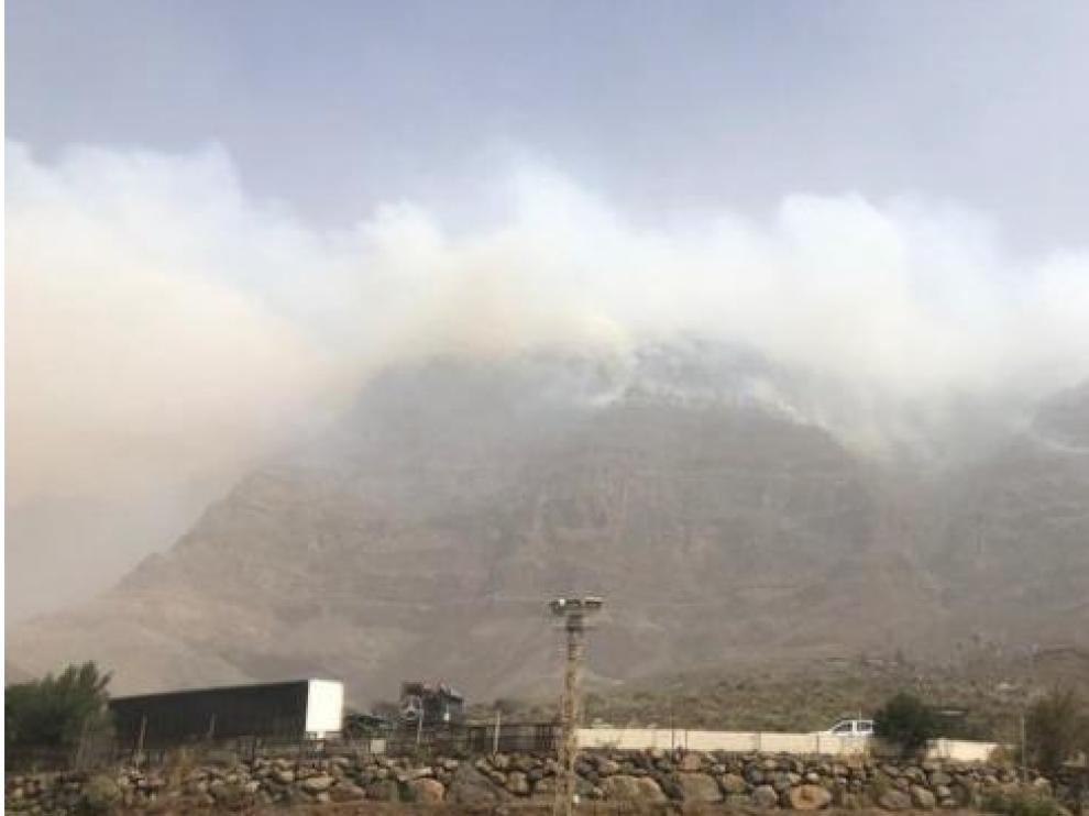 Fuego en la zona de Inagua, en Gran Canaria