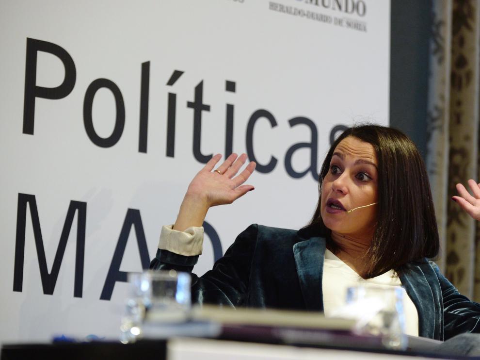 Inés Arrimadas, este lunes, en Valladolid.