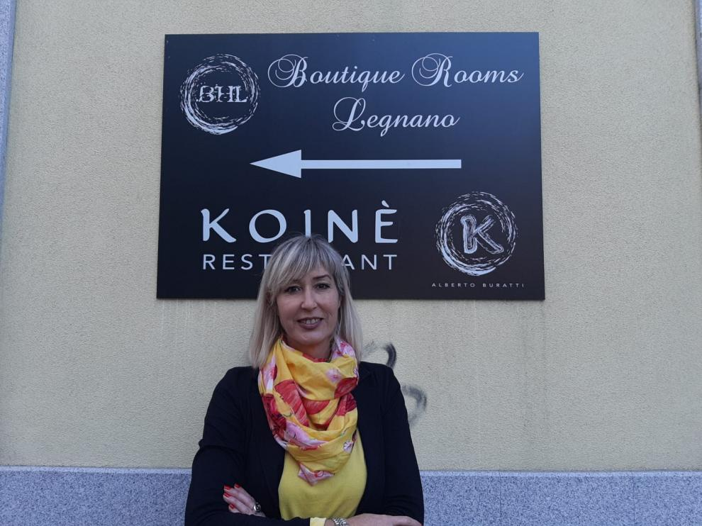 Johanna Isasa, en el restaurante que regenta en Lugnano, cerca de Milán.